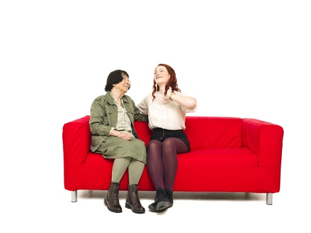 Grandmother and Grandchild sitting in a sofa Stock Photo - 12899005