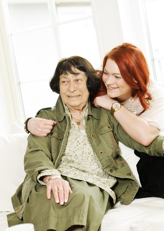 Young woman happy with her Grandmother Stock Photo - 12899257