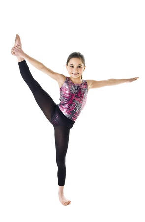 bending over: Young Gymnastic Girl isolated on white background