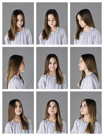 multiple ethnicity: Collage of 9 portraits of a young girl on grey background