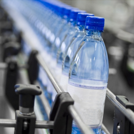 plastic: Close up of bottle industry Stock Photo
