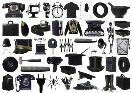 Collage of Black objects on white background photo