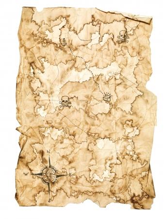 mapa del tesoro: Mapa del tesoro gastado en el fondo blanco