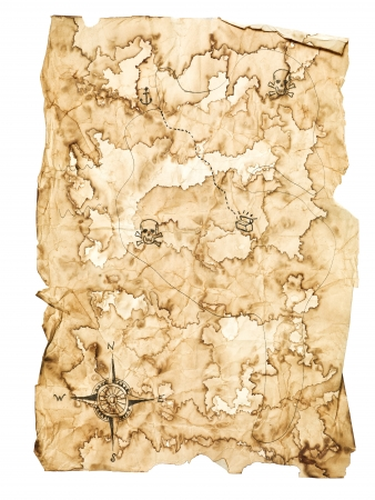 ancient map: Worn Treasure Map on White Background Stock Photo