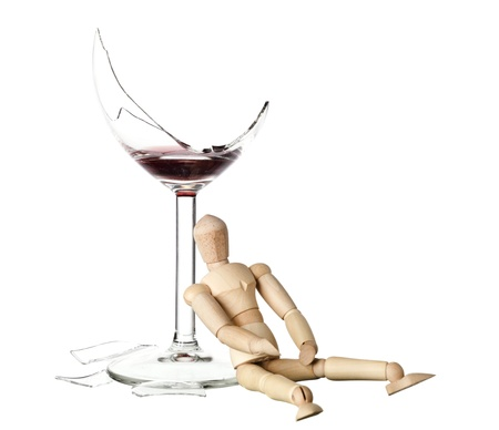 wooden mannequin: Drunk Mannequin Doll with a glass of red wine