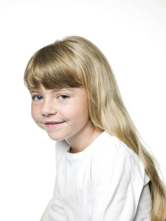 Portrait of a Little Girl on white Background Stock Photo - 14767909