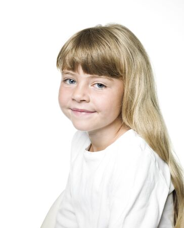 Portrait of a Little Girl on white Background Stock Photo - 14767915