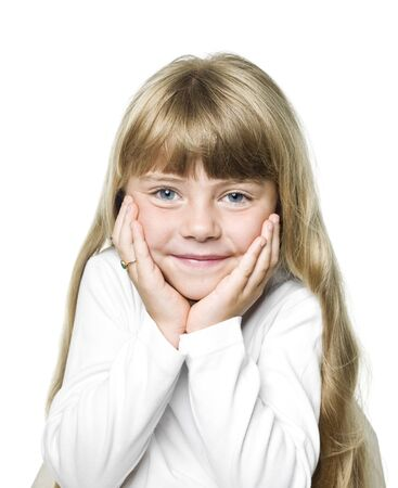 Portrait of a Little Girl on white Background Stock Photo - 14767911