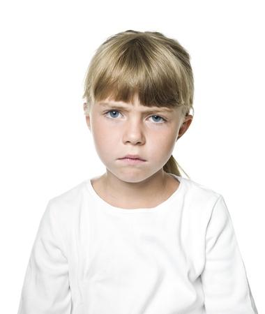 Portrait of a Sad girl on white background Stock Photo - 14767888