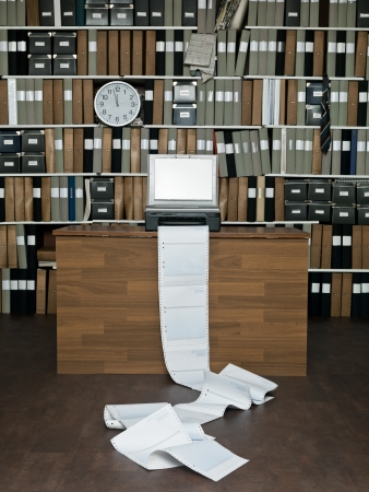 Loads of papers from the fax machine Stock Photo - 15183817