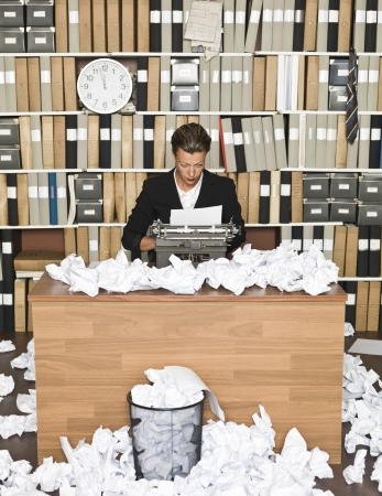 Female Author at a messy office Stock Photo - 14903376