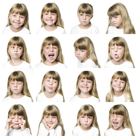 expression facial: Collage of a young girl isolated on white background