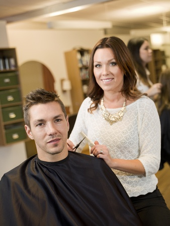 Adult man in a Beauty salon photo