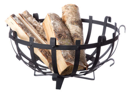 woodpile: Firewood in a basket isolated on white background