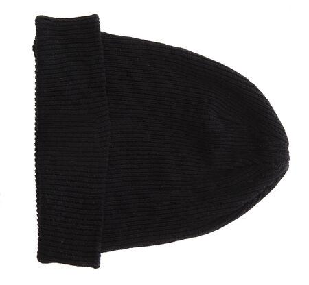 black  cap: Black ski cap isolated on white