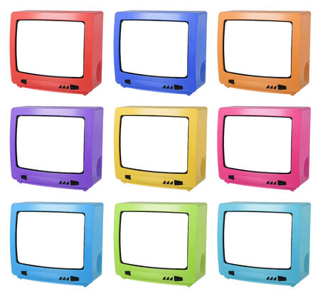 Collage of colored TV isolated on white  photo