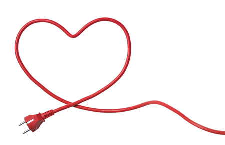 electric fixture: Heartshaped cavo di alimentazione isolato su sfondo bianco
