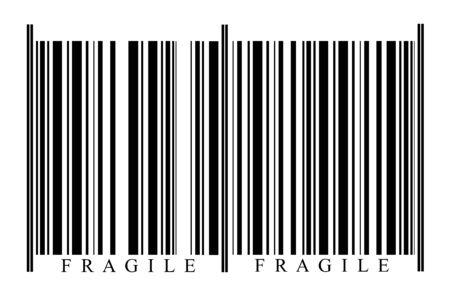 Fragile Barcode on white background photo