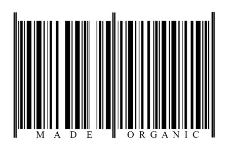 Organic Barcode on white background photo