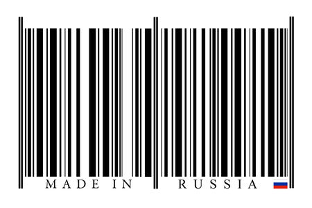 Russia Barcode on white background photo