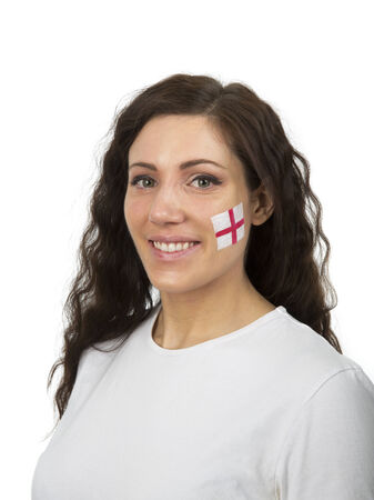 Young Girl with the English flag painted in her face photo