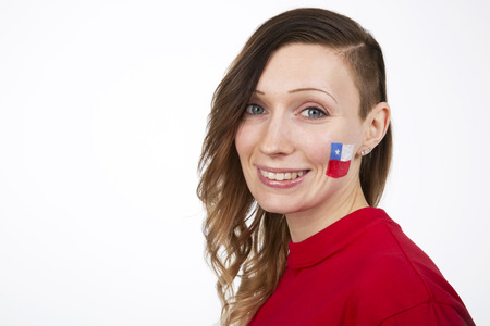 Smiling Girl with the flag of Chile on her cheek photo