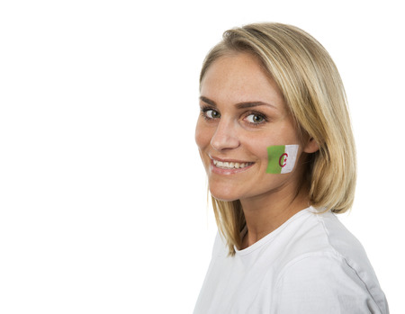 algerian flag: Young Girl with the Algerian flag painted on her cheek