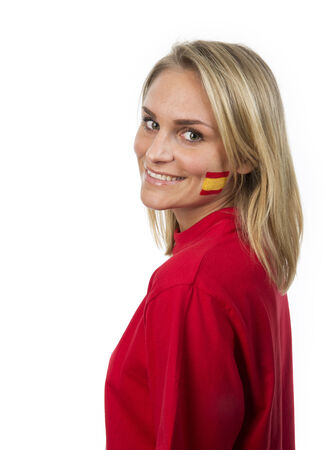 Young Girl with the Spanish flag painted on her cheek photo