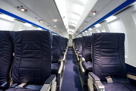 idea comfortable: Interior of an airplane without people