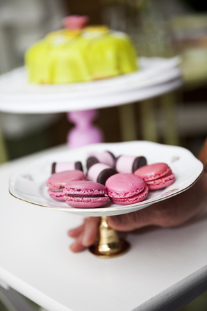 cakestand: Group of Macaroons and cookies on a cakestand