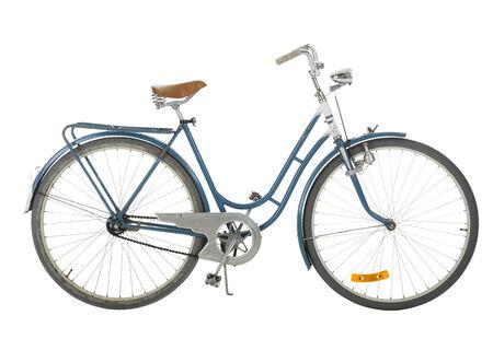 Old fashioned bicycle isolated on white background photo