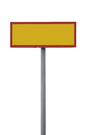 Blank warning sign isolated on white background photo