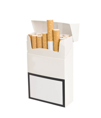 Pack of Cigarettes isolated in white background photo
