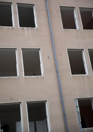 demolished house: Demolished House with empty windows Stock Photo