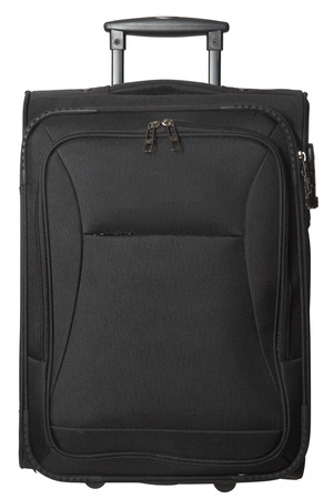 suitcase packing: Black Suitcase isolated on white background Stock Photo