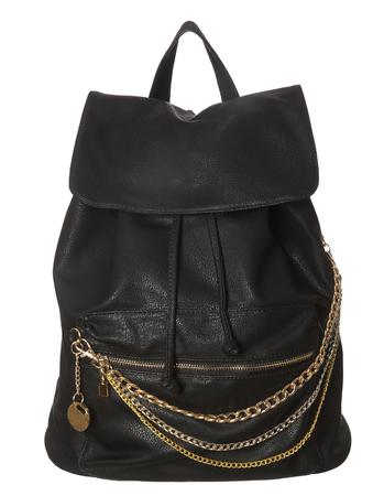 leather bag: Black Leather Bag isolated on white background Stock Photo