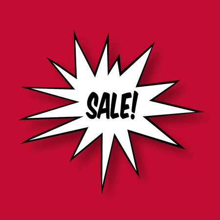 photographic effects: The word Sale in a Comic Book Star on red Background Stock Photo