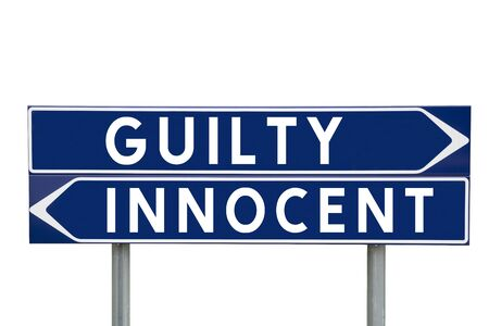 innocent: Blue Direction Signs with choice between Guilty or Innocent isolated on white background