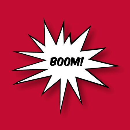 bombing: Boom in a Comic Book Star on red background