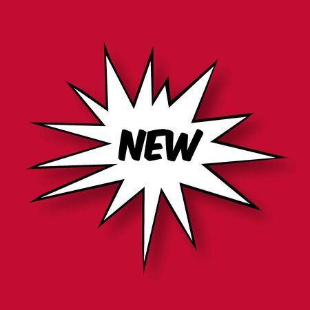 photographic effects: The word new in a Comic Book Star on red Background Stock Photo
