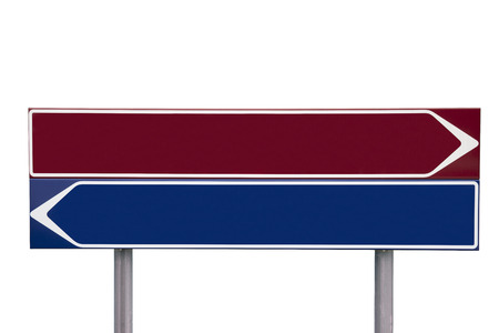 contrasts: Red and blue Direction Signs isolated on white background