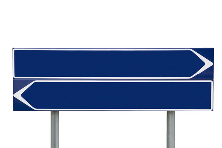 bollard: Blue Direction Signs isolated on white background