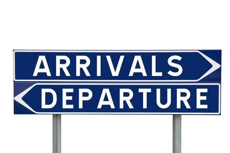 departures: Blue Direction Signs with choice between arrivals or departures isolated on white background Stock Photo