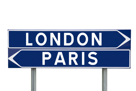 bollard: Blue Direction Signs with choice between London or Paris isolated on white background