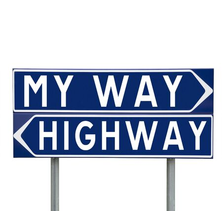 information highway: Blue Direction Signs with choice between My Way or the Highway isolated on white background