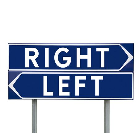 direction signs: Blue Direction Signs with choice between Left or Right isolated on white background Stock Photo