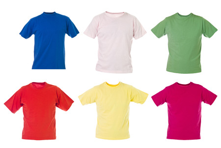 medium length: Group of t-shirts isolated on white background Stock Photo
