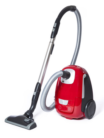 vacuum cleaner: Red Vacuum Cleaner isolated on white background