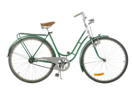 37071082: Green Old fashioned bicycle isolated on white background