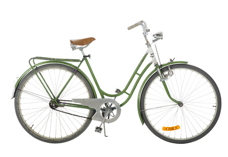 Green Old fashioned bicycle isolated on white background photo